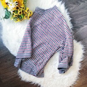 FREE PEOPLE STRIPED KNIT CREWNECK SWEATER RELAXED